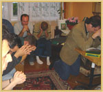 Christians from different churches and Ed leading in a time of prayer after he taught a Bible study in Kwidzyn, 		Poland, in September 2004.
